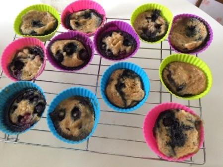Pressure Cooker Lemon Blueberry Muffins cooling on rack