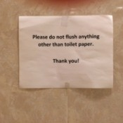 Caution on Flushable Wipes - sign warning not to flush wipes