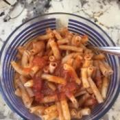 mixed sauce and pasta
