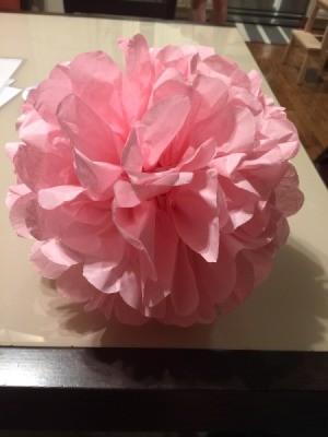 DIY Tissue Paper Pom Pom Decoration - round pink paper pom pom