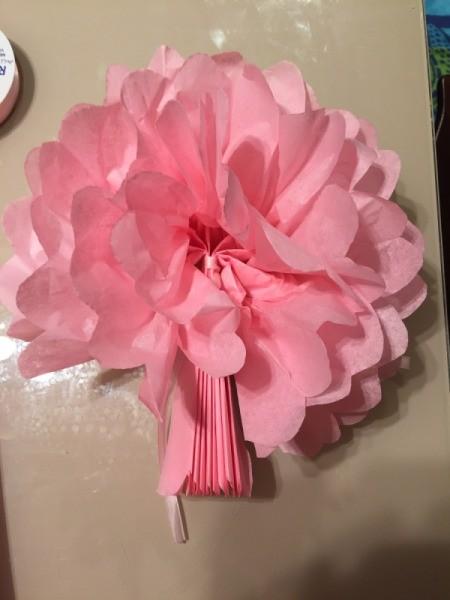 DIY Tissue Paper Pom Pom Decoration - one side finished