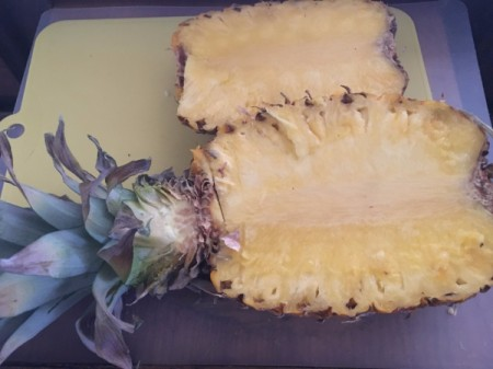 Pineapple cut on one side