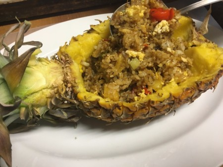 filling Pineapple with Fried Rice mixture