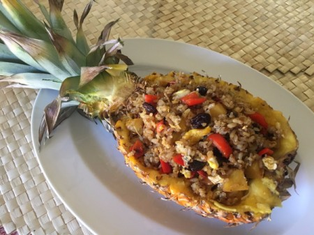 filled Pineapple with Fried Rice mixture