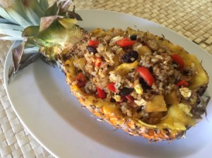 Pineapple Fried Rice served in pineapple