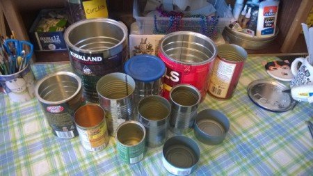 Tin Can Organizers - assorted cans