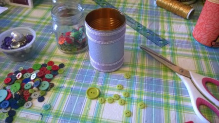 Tin Can Organizers - can with lavender paper