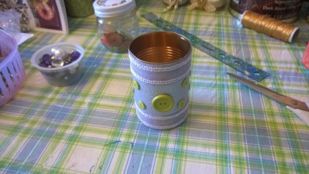 Tin Can Organizers - green buttons glued on