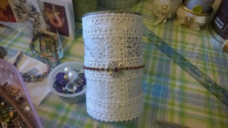 Tin Can Organizers - finished with and elastic bracelet and a bit of broken jewelry