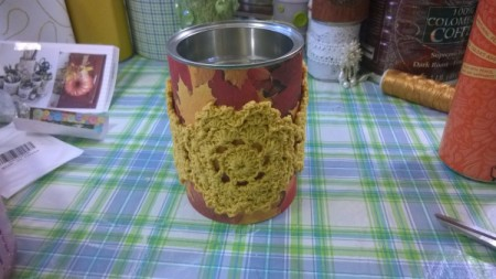 Tin Can Organizers - fall leaf paper on can with doilies glued on