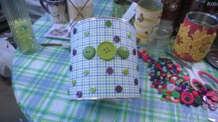 Tin Can Organizers - buttons glued in place