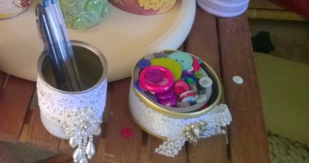 Tin Can Organizers - lacy decorated tuna and fruit cans