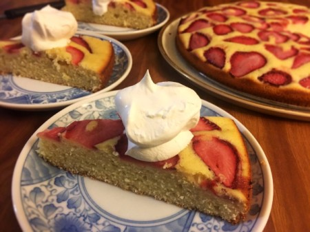 slice of Strawberry Lime Cake with whipped cream