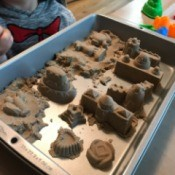 Lidded Cake Pan for Kinetic Sand - molded kinetic sand in rectangular cake pan
