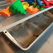 Lidded Cake Pan for Kinetic Sand - molds on inverted lid for short term storage