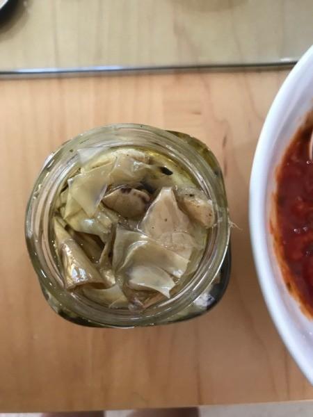 artichoke halves in jar