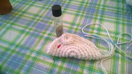 Crocheted Catnip Mouse and Bunny Toys - begin sewing at tail end to ears