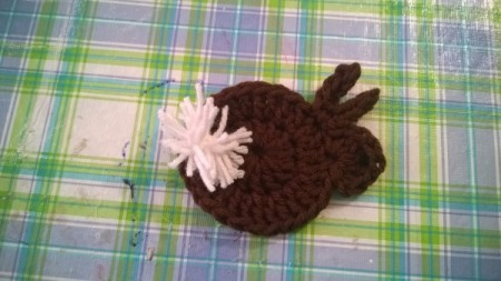 Crocheted Catnip Mouse and Bunny Toys - pink tail on bunny