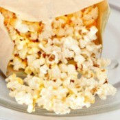 Microwave popcorn being made.