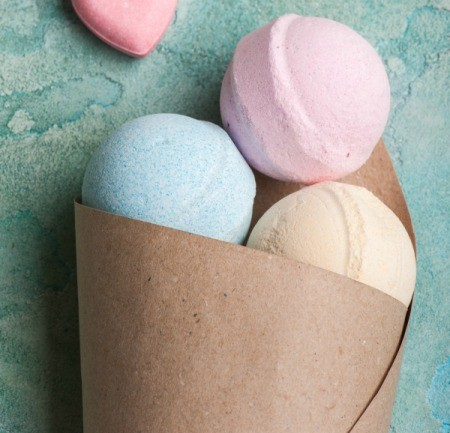 Round colorful bath bombs.