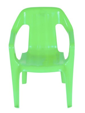 Green plastic outdoor chair.