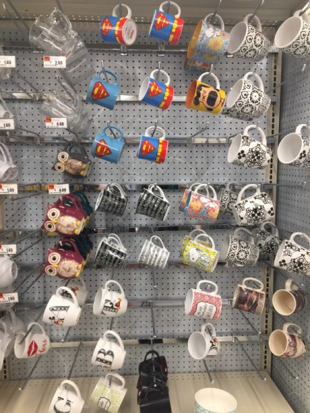 Take Pictures of Items When Shopping - hanging rack of coffee mugs