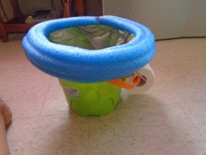 DIY Camping Toilette - tape noodle to top of bucket