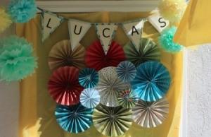 Pinwheel Wall Decor/Backdrop for Photos - pinwheel and pennant wall display
