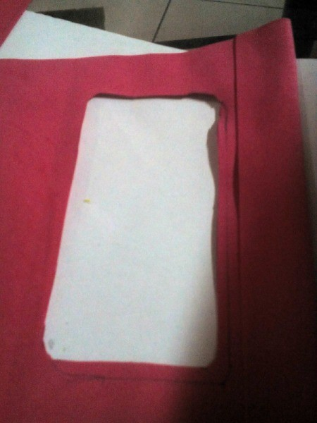 Pouch with Easy Tap Phone Case - fold large piece of foam in half and trace phone, cut out