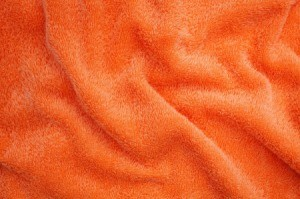 A plush orange blanket.