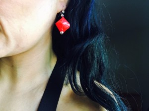 Drinking Straw Geometric Earrings - woman wearing the finished earring
