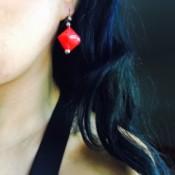 Drinking Straw Geometric Earrings - woman wearing the finished earring