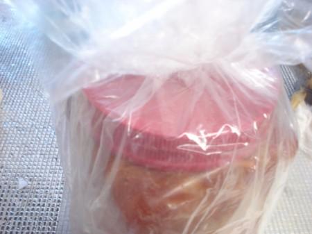 plastic bags around kimchi jari