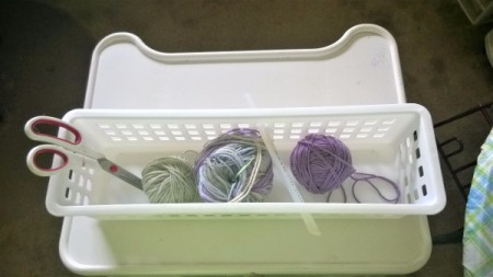 Crocheted and Woven Plastic Basket - supplies