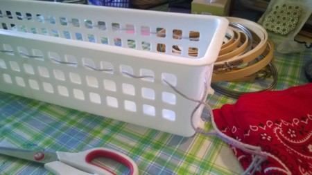 Crocheted and Woven Plastic Basket - test woven yard from outside