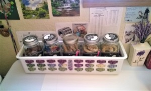 Crocheted and Woven Plastic Basket - finished basket filled with mason jars