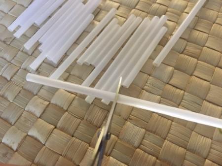 Drinking Straw Statement Necklace - begin cutting straws