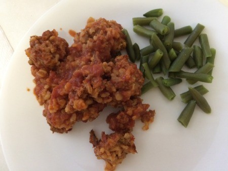 Porcupine Meatballs and green beans on plate