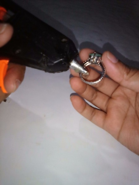Glue to Make an Oversize Ring Fit - adding glue