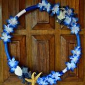 Blue Ombré Holiday Wreath - finished ombré wreath