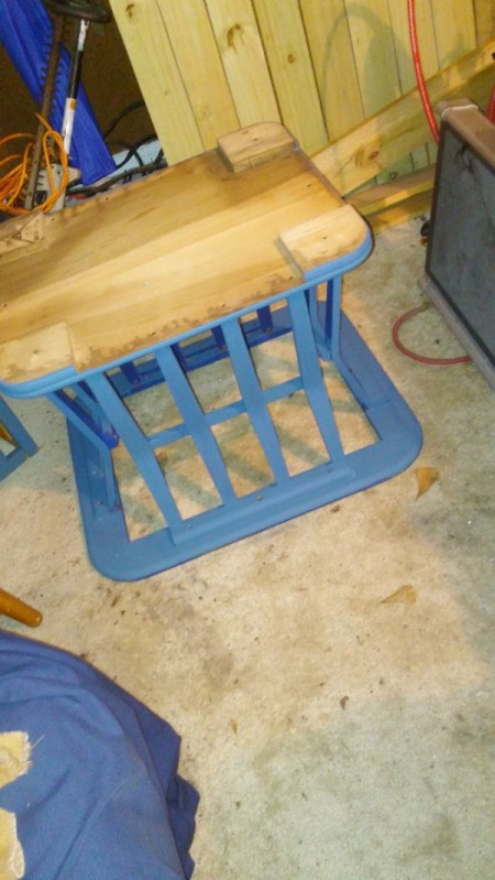Value of a Mersman Table - upside table being painted blue