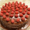 finished Chocolate Cake with raspberries on top