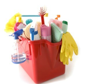 A bucket of cleaning tools.