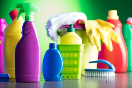 Colorful cleaning supplies.