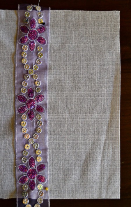 Decorated Journal Teacher's Appreciation Gift - pin the ribbon to the linen, sew in place