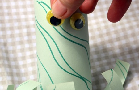 Paper Octopus - glue eyes in place