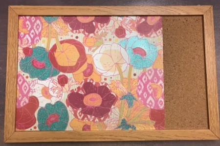 Personalized Bulletin Board - after cutting to size (slightly larger) tuck into the frame