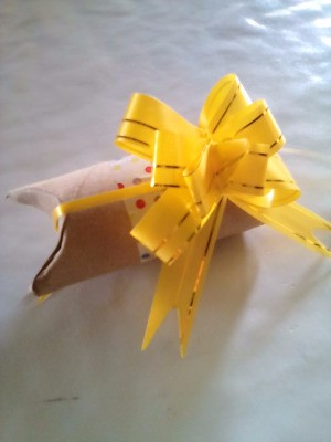 Recycled Tissue Roll for Small Gift Wrapping - finished gift wrap tube