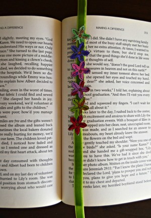 Quick Bookmark for Book Club Members - colorful flower bookmark in a book