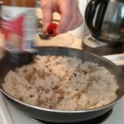 soya sauce added to rice